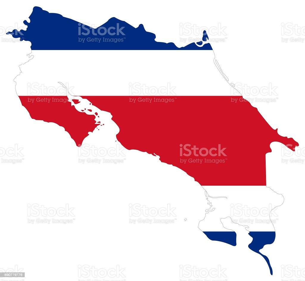 Bandeira e mapa de Costa Rica - ilustração de arte em vetor