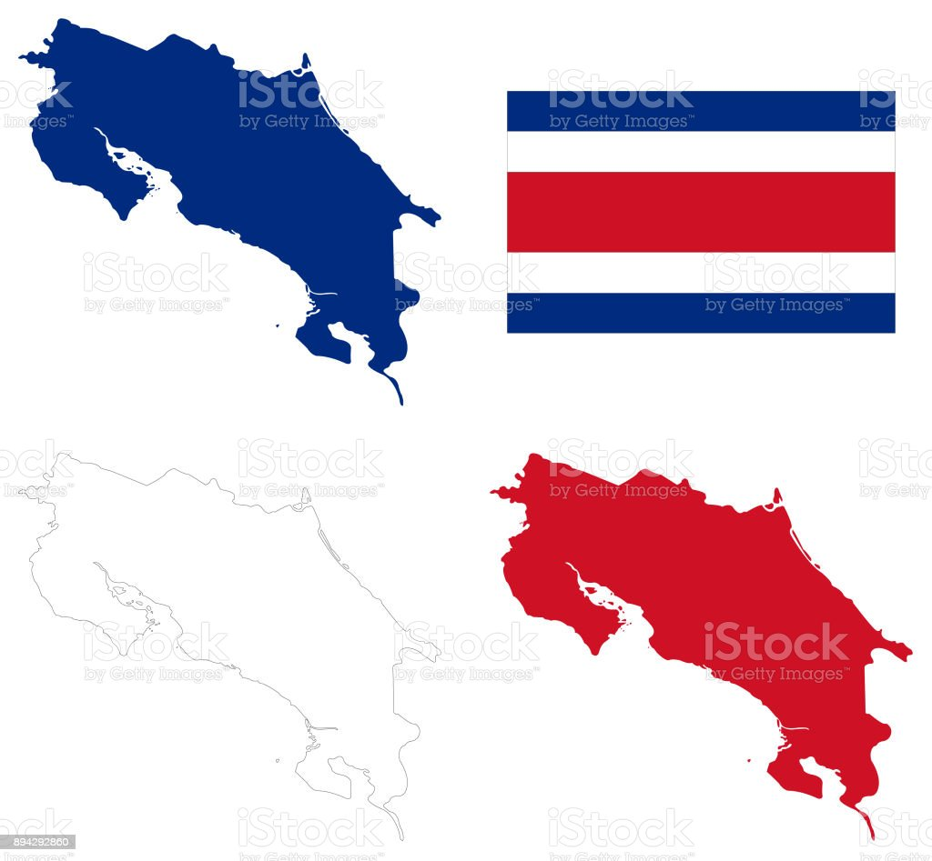 Costa Rica map and flag vector art illustration