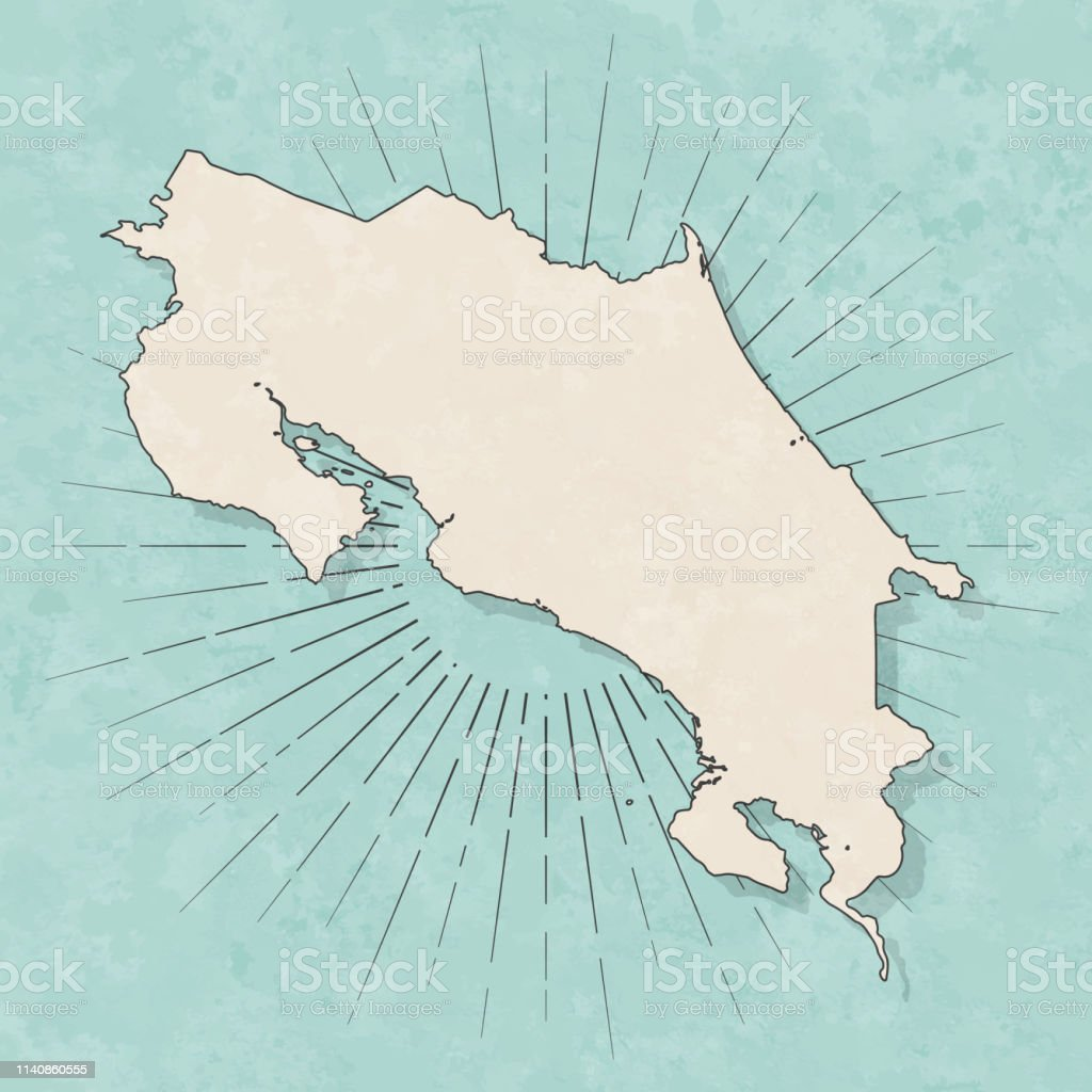 Map of Costa Rica in a trendy vintage style. Beautiful retro...