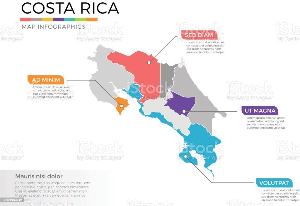 Plantilla de vector de infografía Costa rica mapa con regiones y marcas de puntero - ilustración de arte vectorial