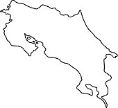 Costa Rica map of black contour curves of vector illustration