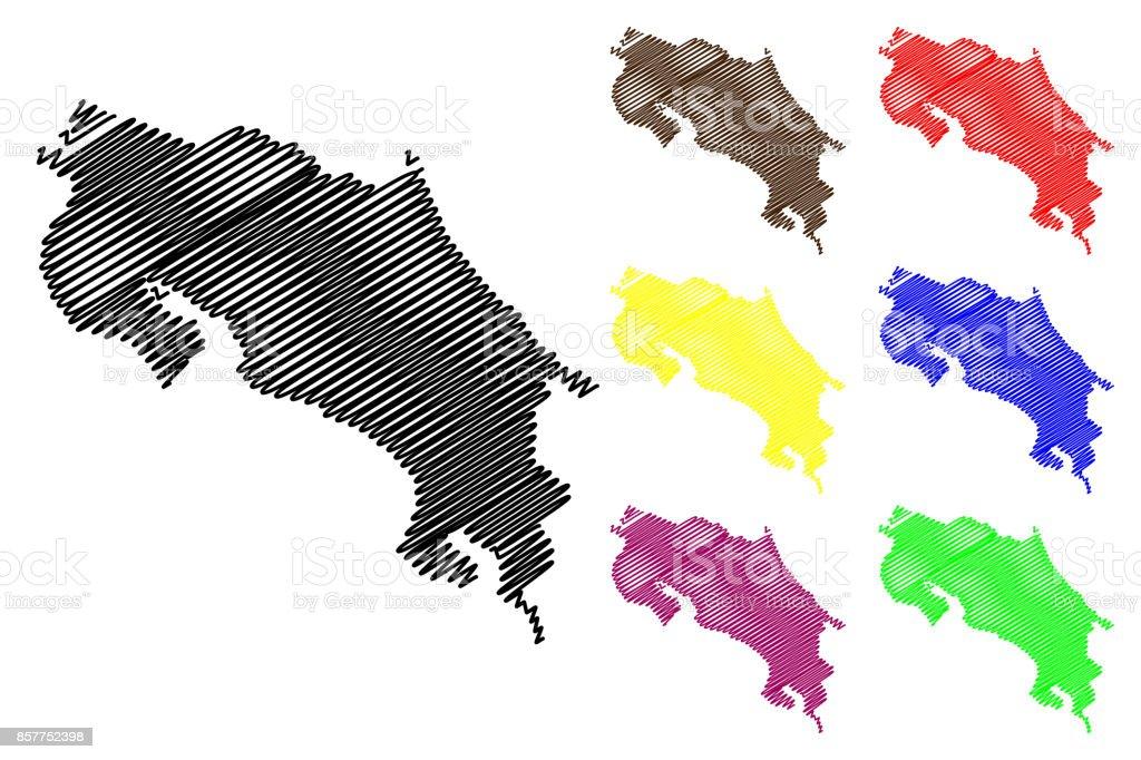 Vector mapa de Costa Rica - ilustración de arte vectorial
