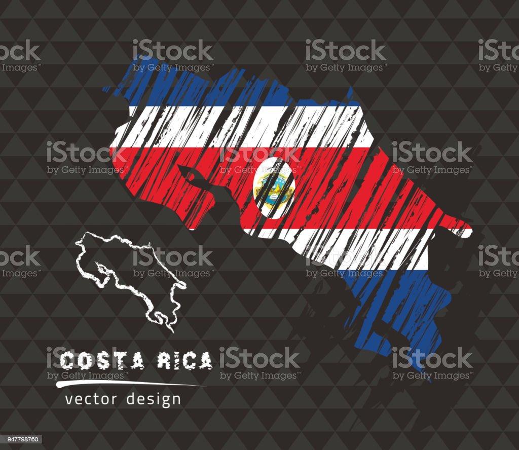 Costa Rica mapa de vector nacional con la bandera de tiza de bosquejo. Boceto de tiza ilustración dibujado a mano - ilustración de arte vectorial