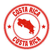 Map of Costa Rica on a red rubber stamp in vintage style. The stamp is composed of the map in the middle with the names around, separated by stars. A grunge texture is added to create a vintage and realistic effect. Vector Illustration (EPS10, well layered and grouped). Easy to edit, manipulate, resize or colorize.