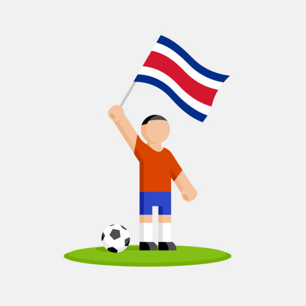 Costa rica soccer player in kit with flag and ball vector art illustration