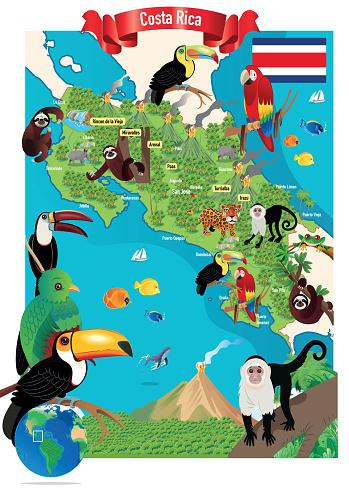 Costa Rica Travel Map, San Jose, Puerto Limón, Alajuela, Heredia, Cinco Esquinas, Desamparados, Liberia, Puntarenas, San Vicente, Barranca