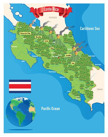 Costa Rica Travel Map, San Jose, Puerto Limón, Alajuela, Heredia, Cinco Esquinas, Desamparados, Liberia, Puntarenas, San Vicente, Barranca stock illustration Alajuela City, Central America, Costa Rica, Country - Geographic Area, Heredia Province