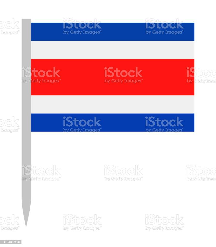Costa Rica - broche plate icône de drapeau vectoriel - Illustration vectorielle