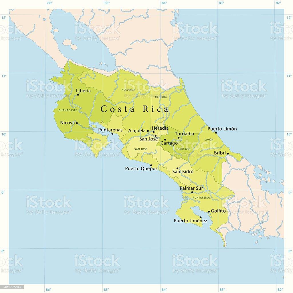 Costa Rica Karte Mittelamerika.Costa Rica Vektorkarte Stock Vektor Art Und Mehr Bilder Von Atlantik