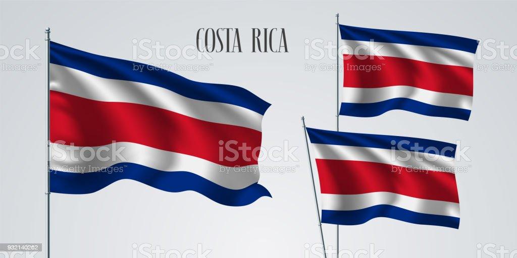 Costa Rica Bandera conjunto de ilustración vectorial - ilustración de arte vectorial
