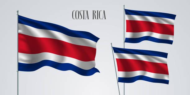 Costa Rica wehende Flagge gesetzt von Vektor-illustration – Vektorgrafik