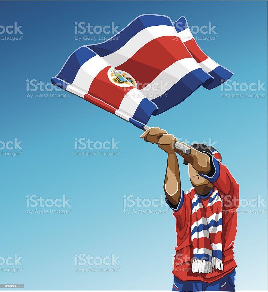 Costa Rica, acenando a bandeira fã de futebol - ilustração de arte em vetor