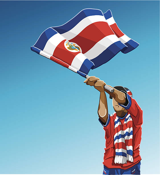 Costa Rica Waving Flag Soccer Fan Vector Illustration of a Costa Rican soccer fan. The background is on a separate layer, so you can use the illustration on your own background. The colors in the .eps and .ai-files are ready for print (CMYK). Included files: EPS (v8), AI (CS2) and Hi-Res JPG.  sport stock illustrations