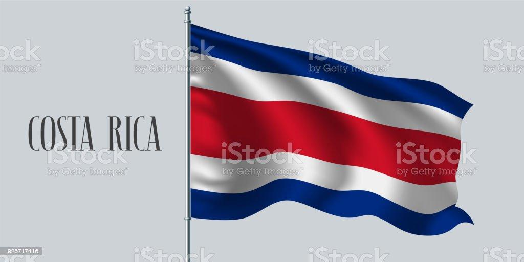 Costa Rica ondeando bandera vector ilustración - ilustración de arte vectorial