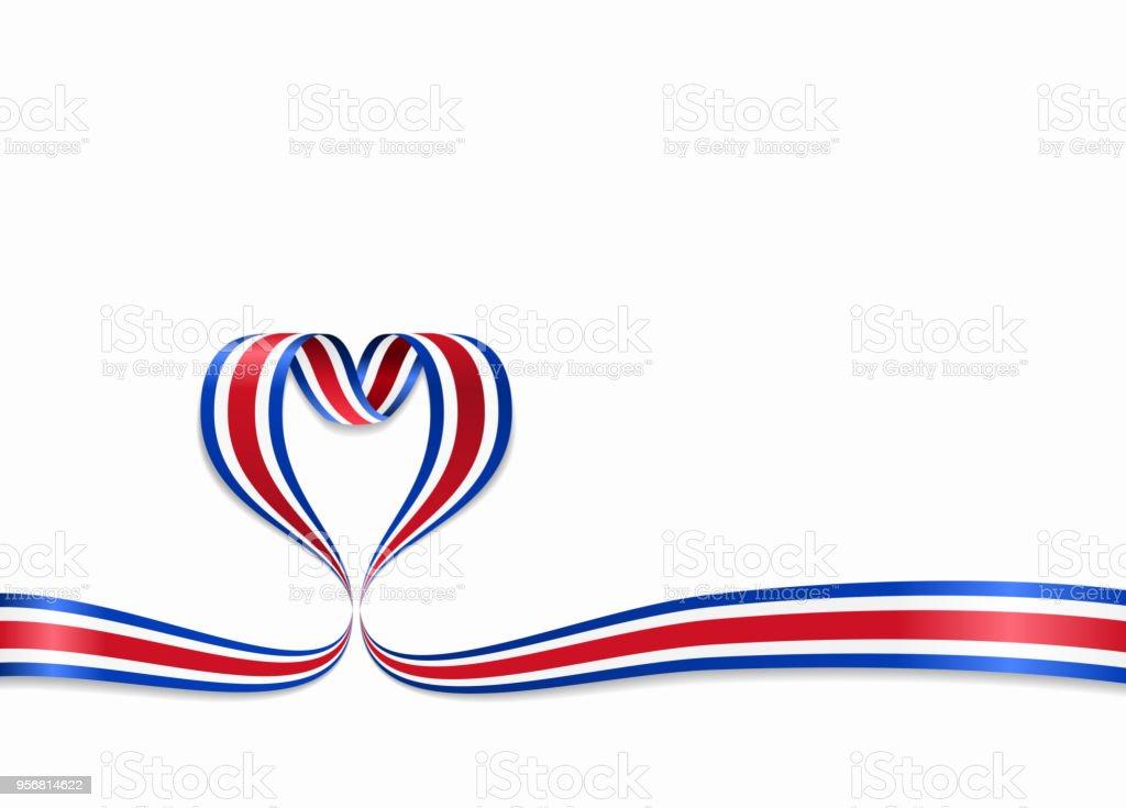Cinta en forma de corazón de la bandera de Costa Rica. Ilustración de vector. - ilustración de arte vectorial