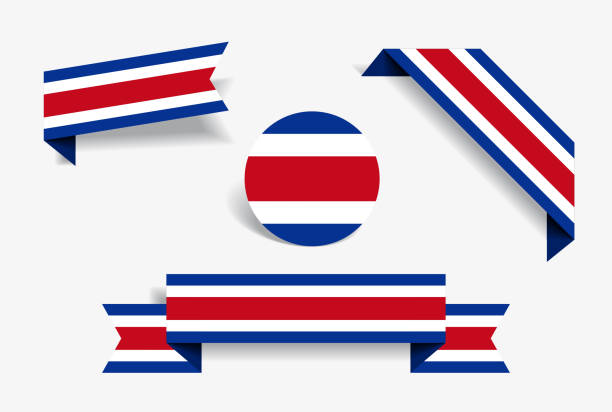 Costa Rican flag stickers and labels. Vector illustration. vector art illustration