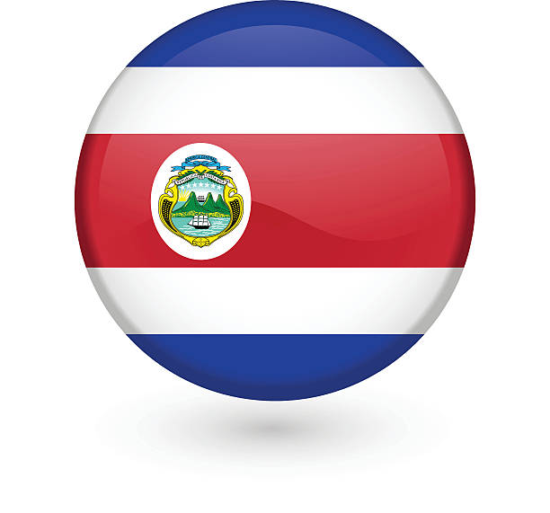 Costa Rican flag vector button vector art illustration