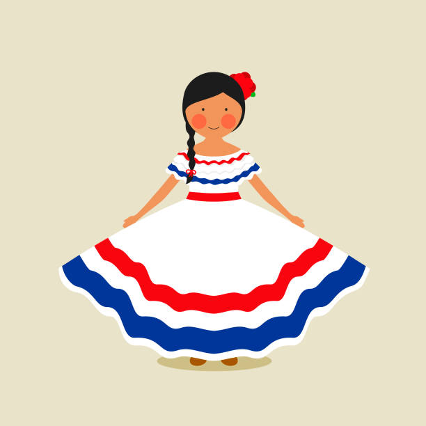 Costa Rican traditional clothing for women vector art illustration
