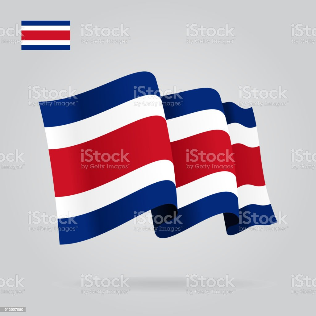 Costa Rican waving Flag. Vector illustration. – Vektorgrafik
