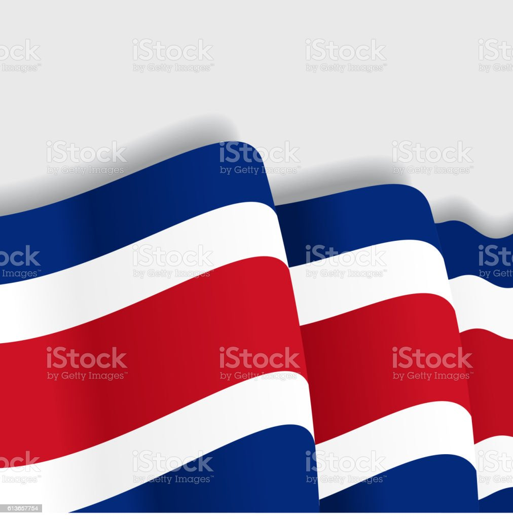 Costa Rican waving Flag. Vector illustration. - ilustración de arte vectorial