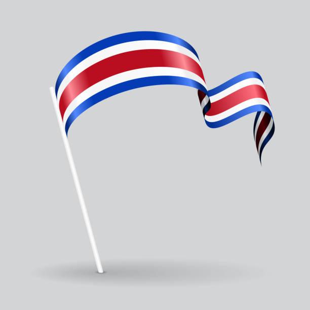 ilustraciones, imágenes clip art, dibujos animados e iconos de stock de costa rican wavy flag. vector illustration. - bandera de costa rica