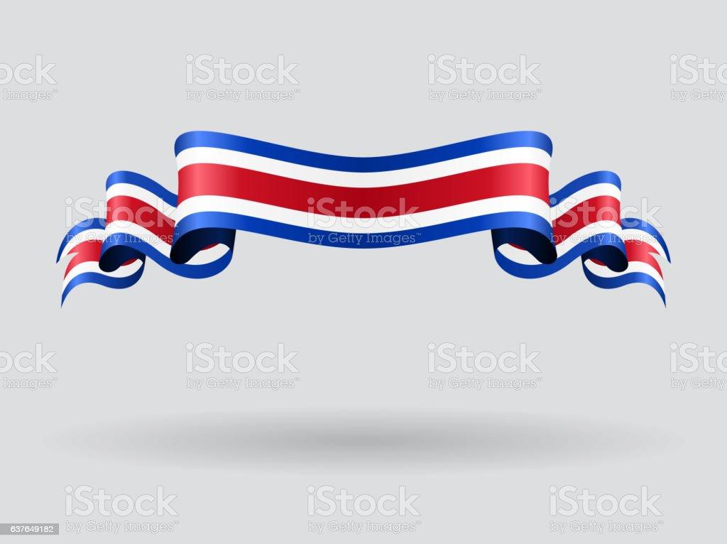Ondulado Bandeira da Costa Rica. Ilustração vetorial. - ilustração de arte em vetor