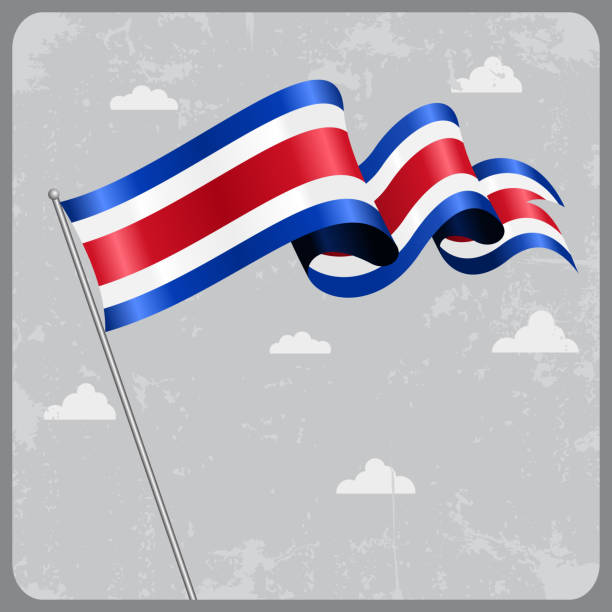 Costa Rican wavy flag. Vector illustration. vector art illustration