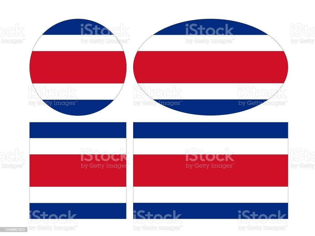 Drapeaux de Costa Rico - Illustration vectorielle