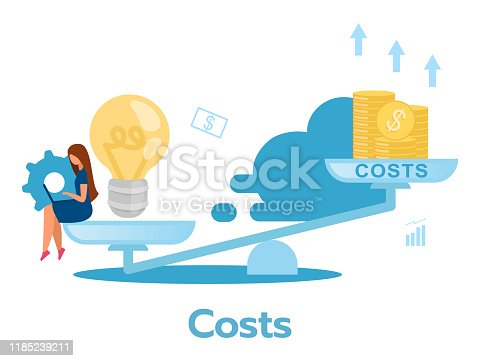 Costs flat vector illustration. Payments. Company expences. Corporate expenditure. Resource optimization. Business model. Organization maintenance. Isolated cartoon character on white