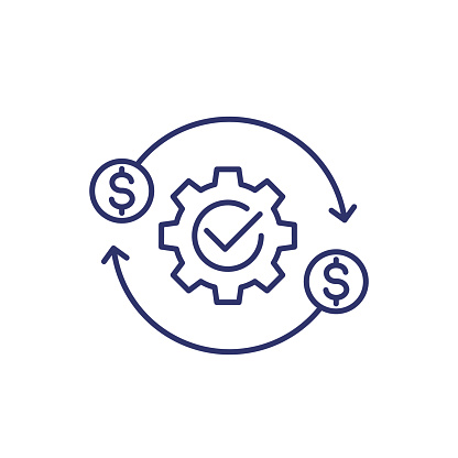 costs optimization and production efficiency icon, line