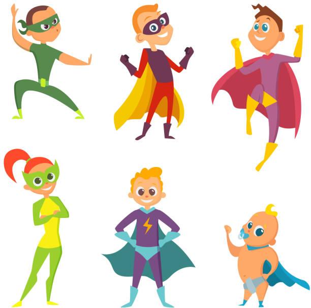 bildbanksillustrationer, clip art samt tecknat material och ikoner med kostym av superhjältar barn. tecknade illustrationer av barn i åtgärd poser - superhjälte isolated