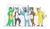 Costume Party Concept. Happy Drunk Friends Characters Rejoice at Festive Event Celebration. Hipster Men and Women Waving Hands, Singing Songs in Funny Pajamas. Linear People Vector Illustration