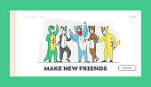istock Costume Party Landing Page Template. Happy Friend Characters Rejoice at Festive Celebration. Hipster in Funny Pajamas 1283397278