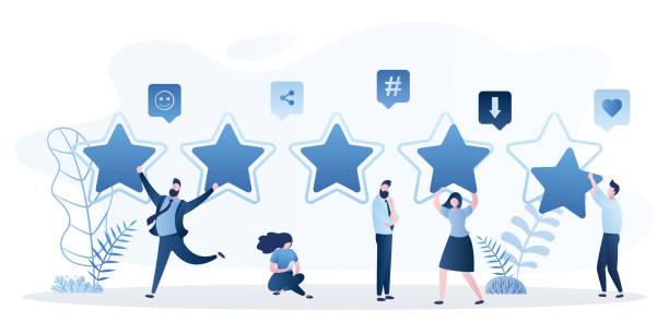 ilustrações, clipart, desenhos animados e ícones de conceito de classificação de revisão do costumer. cinco estrelas classificam e clientes de pessoas felizes dão revisão - costumer