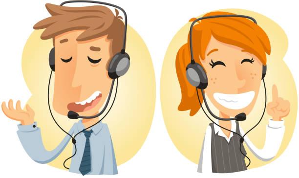 ilustrações, clipart, desenhos animados e ícones de serviço de cliente no call center de operador de plantão - costumer