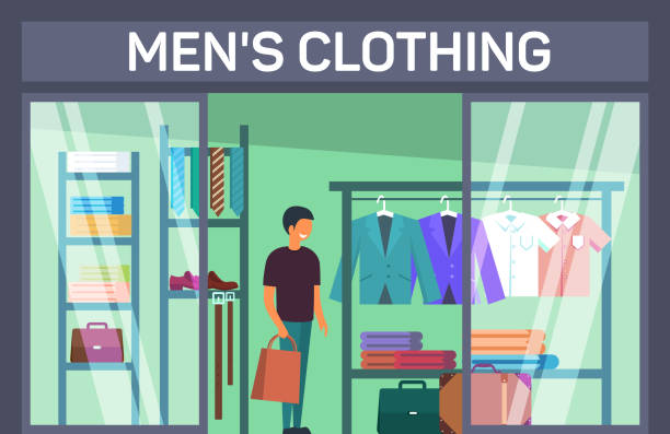 kunden mit tasche an mans bekleidungsgeschäft - stoffmarkt stock-grafiken, -clipart, -cartoons und -symbole