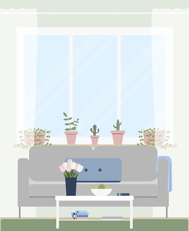 Cosy living room in the apartment in the city. Flat illustration. Perfect for internet publication or printing.