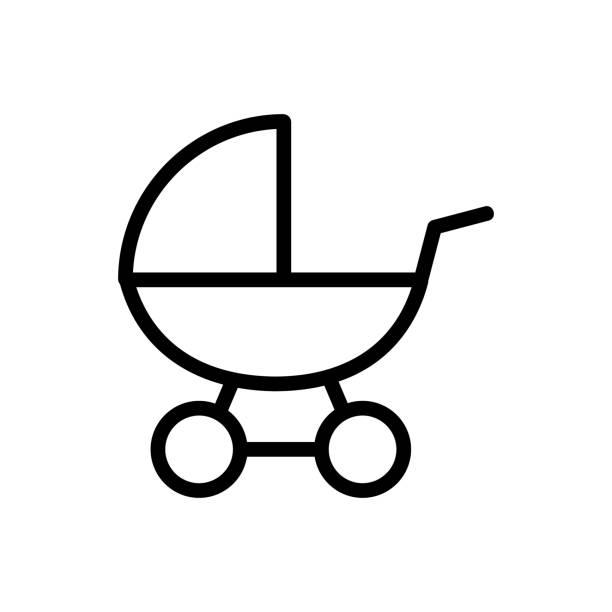 ilustrações de stock, clip art, desenhos animados e ícones de cot toy icon vector outline illustration - unicorn bed