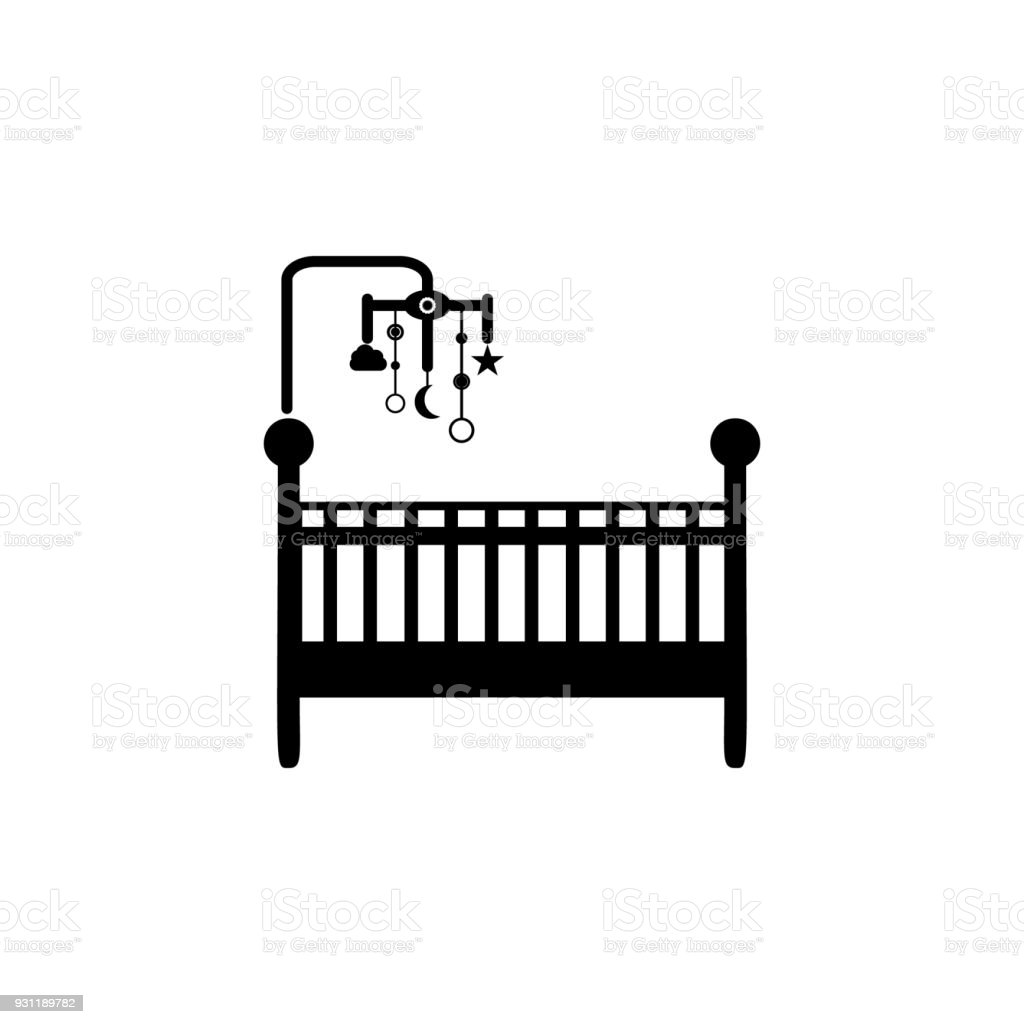 cot with toys icon. Element of baby icon. Premium quality graphic design. Signs and symbols collection icon for websites, web design, mobile app vector art illustration