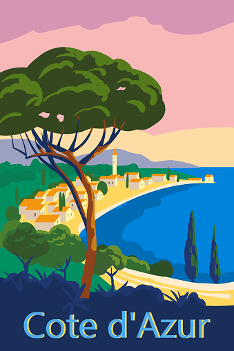Cote d'Azur of France Travel poster retro old city Mediterranean sea vacation Europe. Holiday summer voyage seaside sunset. Vintage style vector illustration