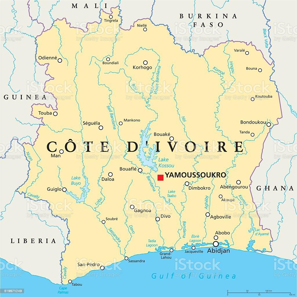 Cote Divoire Political Map Stock Vector Art More Images Of Abidjan
