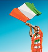 Cote d'Ivoire Waving Flag Soccer Fan