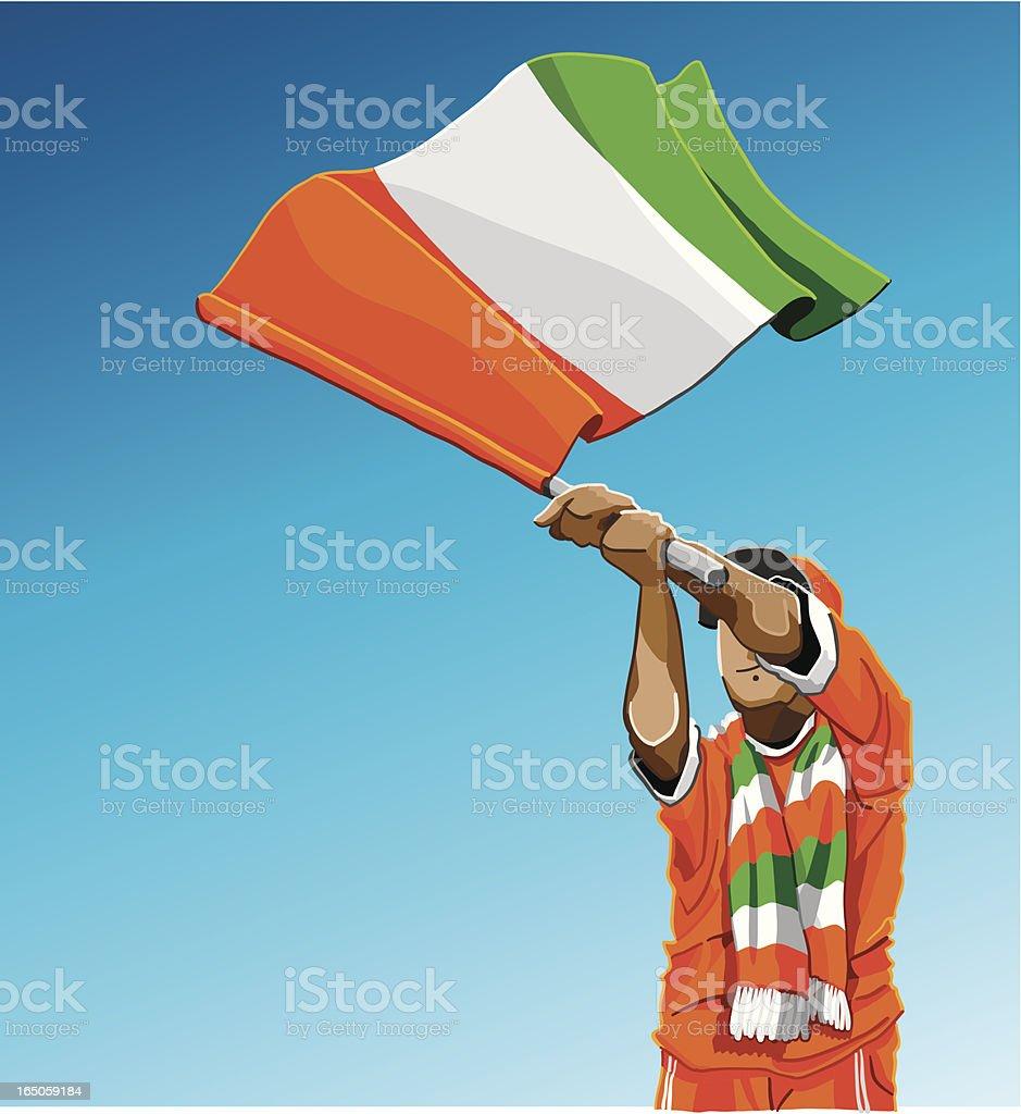 Cote d'Ivoire Waving Flag Soccer Fan vector art illustration