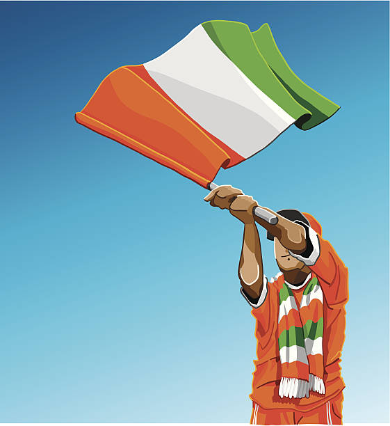 Cote d'Ivoire Waving Flag Soccer Fan Vector Illustration of a Cote d'Ivoire soccer fan. The background is on a separate layer, so you can use the illustration on your own background. The colors in the .eps and .ai-files are ready for print (CMYK). Included files: EPS (v8), AI (CS2) and Hi-Res JPG.  soccer stock illustrations