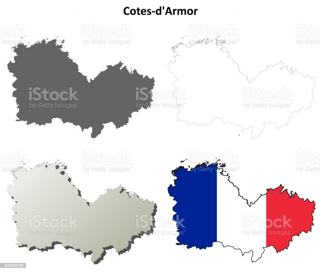 Map France 945.Cotesdarmor Brittany Outline Map Set Stock Vector Art More Images