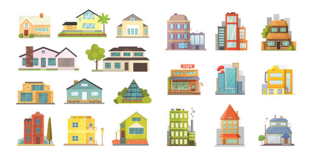Cottage and assorted real estate building icons. Residential house collection in new cartoon style vector art illustration