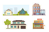 Cottage and assorted real estate building icons. Residential house collection in new cartoon style