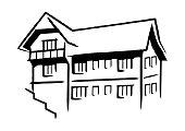 cottage, black silhouette