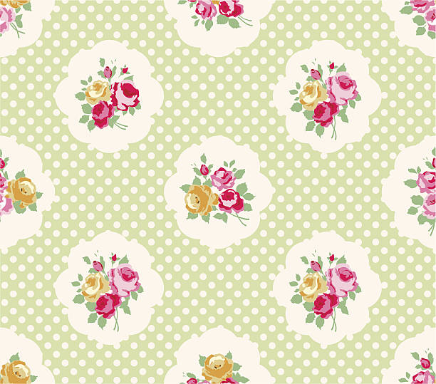 Cottage chic patterns Beautiful Seamless rose pattern, polka dot background, illustration.  Ideal for printing onto fabric and paper or scrap booking. Pink, yellow and green color. Cottage shabby chic style. shabby chic stock illustrations