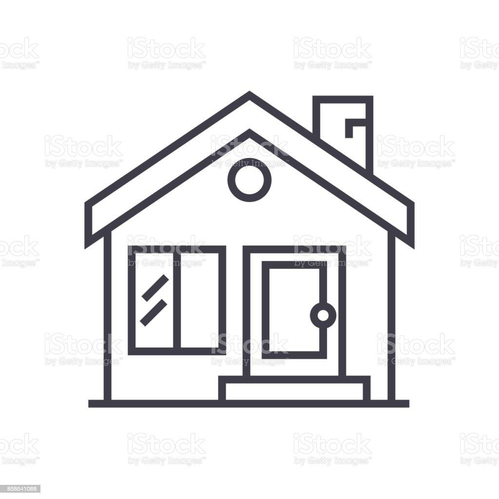 Ilustración de Casa De Campo Chimenea Inmobiliaria Vector Línea ...